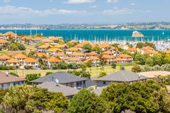 Residential area with marina on a background. Residential area at Whangaparoa, Auckland, New Zealand stock photos