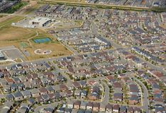 Residential area Milton, aerial. Aerial view of a new residential housing development in Milton, Ontario Canada stock photos