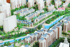 The residential area model. The colorful wood  scale model residential area buildings plan form Stock Photo