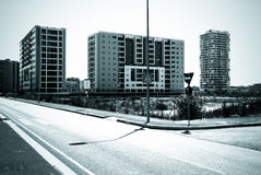Residential area in monochrome. Building under construction in Milan zone, Italy Royalty Free Stock Photos