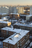 Residential area of Moscow. The sleeping area in winter Stock Photos