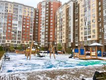 Residential area, Moscow. Residential area at the underskirt Moscow. Tall apartments buildings with kids playground, Kommunarka, Moscow, Russia stock photo