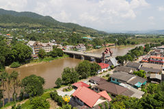 Residential area near the river in rural of thailand Stock Photography