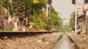 Residential area nearby railways in Hanoi, Vietnam stock video