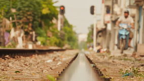 Residential area nearby railways in Hanoi, Vietnam stock footage