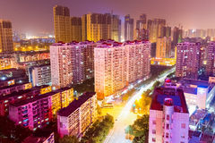 Residential area at night in wuhan Royalty Free Stock Photography