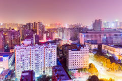 Residential area at night in wuhan Royalty Free Stock Photos