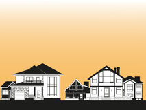 Residential area with private houses. Vector illustration. Royalty Free Stock Photos