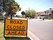 Residential area with a road closed sign Stock Image