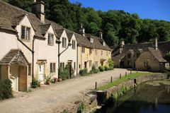 Small village Castle Combe in England in spring. Residential area in the small village Castle Combe in England on a sunny day in spring Royalty Free Stock Photos