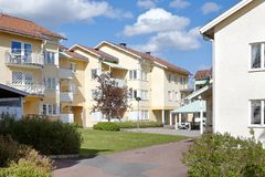 Residential area. Swedish modern residential neighborhoods with apartment buildings Royalty Free Stock Image