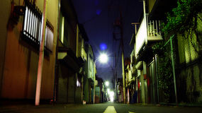 Residential area in Tokyo at night. A back alley in a small town in Tokyo. Taken in Setagaya, a residential area stock images