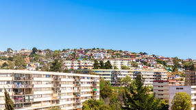 Residential area in Vina del Mar, Chile. Panoramic view of residential area in Vina del Mar, Chile royalty free stock photography