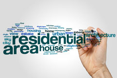 Residential area word cloud. Concept on grey background royalty free stock photo