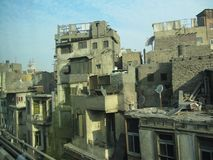 Residential areas in the center of Cairo dilapidated buildings in which people live in poverty, Egypt stock image