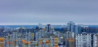 Saturated residential arrays in cloudy weather in Kiev, Ukraine, day, outdoor Royalty Free Stock Images