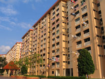 Residential Building. With laundry hung outside apartments in Singapore Royalty Free Stock Images