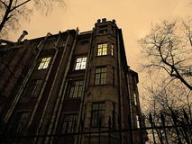 Dark winter evening. Residential building against the dark evening winter sky in Saint-Petersburg Stock Photography