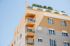 Residential building with balconies in Lisbon in Portugal. European housing.  stock images