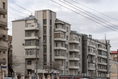 Residential building with bay windows in soviet style, Moscow Stock Image