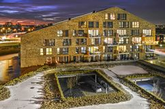 Residential building and car park at night stock photography
