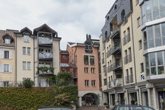 Residential building in the centre of Vevey, Switzerland Stock Photography