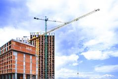 Residential building construction royalty free stock images