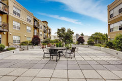 Residential building with courtyard. Stock Photo