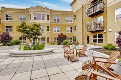Residential building with courtyard. Royalty Free Stock Photo