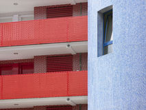 Residential building detail in red and blue tone Stock Image