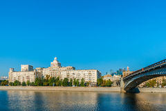 Residential building on embankment of the Moscow river Royalty Free Stock Photo