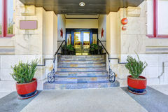 Residential building entrance porch Royalty Free Stock Photo