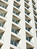 Residential building facade. Close-up of the facade of a residential building in Genoa Stock Photos