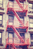 Residential building fire escape in Manhattan, New York, USA. Stock Photos