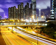 Residential building with highway. At night Stock Image
