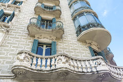 Residential building of Modernism style, Barcelona. Facade of residential building of Modernism style in Barcelona, Catalonia, Spain royalty free stock image