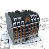 Residential Building on plans. Residential building in bricks and stone on top of architect blue prints vector illustration