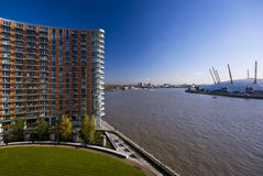 Residential building on river thames. Residential building, new providence wharf, views over o2 arena and river thames london Royalty Free Stock Image