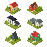 Residential Building Set Isometric View. Vector Royalty Free Stock Photos