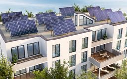 Residential building with solar panels on the roof. Modern residential building with solar panels on the roof royalty free illustration