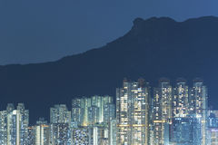 Residential building under lion rock in Hong Kong city Royalty Free Stock Photography