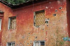 Residential building in a war zone in the Donetsk region, Ukrain Stock Image