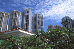 Residential Buildings. Different residential buildings viewed from a park nearby Royalty Free Stock Photos