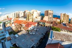 Residential buildings above the roofs of Old Town. Limassol, Cyp Royalty Free Stock Photos