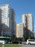 Residential buildings. Astana, view on some residential buildings near the Ministry House in new part of the city; there are also different shops and offices Stock Photos