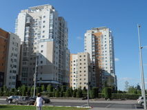 Residential buildings. Astana, view on some residential buildings near the Ministry House in new part of the city; there are also different shops and offices Stock Photography