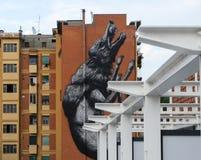 Residential buildings. Balconies and mural in residential buildings in Rome Stock Images