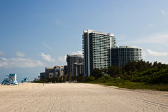 Residential buildings on the beach in Miami, Florida Royalty Free Stock Image