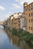Residential buildings close to bridge Ponte Vecchio in Florence Royalty Free Stock Photography