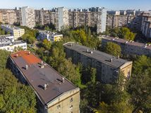 Residential buildings of different heights in old district in Moscow, Russia. Residential buildings of different heights in the old district in Moscow, Russia royalty free stock images